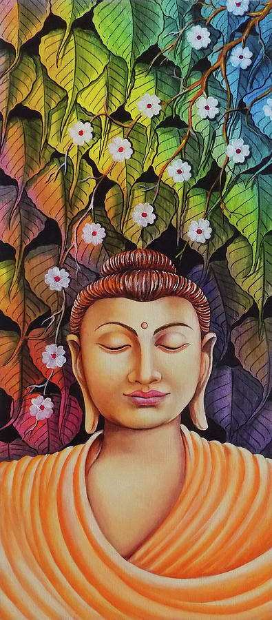 Gautama Buddha Modern Art Drawing By Asp Arts