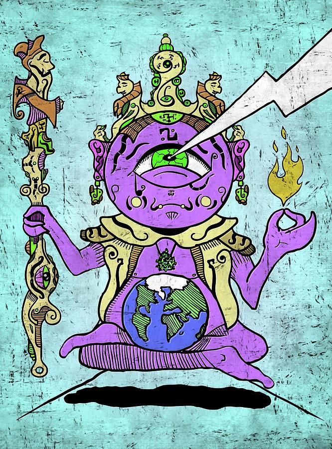 Gautama Digital Art - Gautama Buddha Colour Illustration by Sotuland Art
