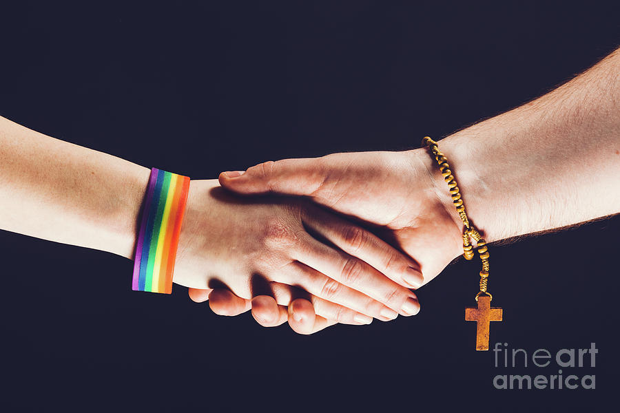 Handshake Photograph - Gay And Christian Person Shaking Hands by Michal Bednarek