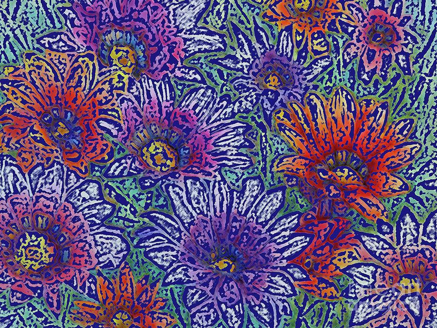 Gazania Floral Design On Blue by Pamela Iris Harden