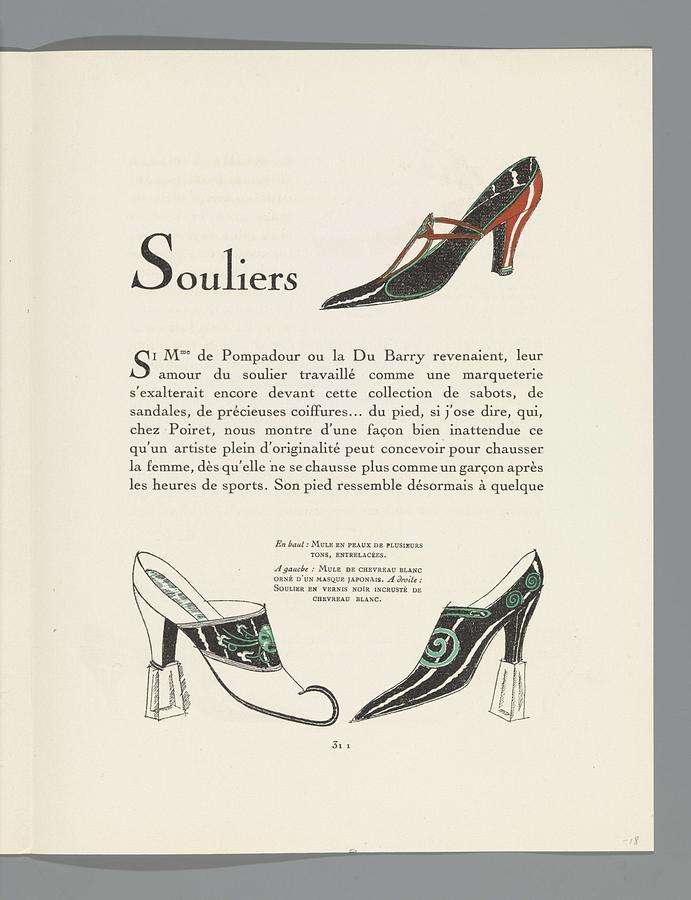 Gazette Of Bon Ton, 1921 - No. 10, P. 311 Shoes Damesschoenen Van Perugia, Grangier, 1921 B Painting