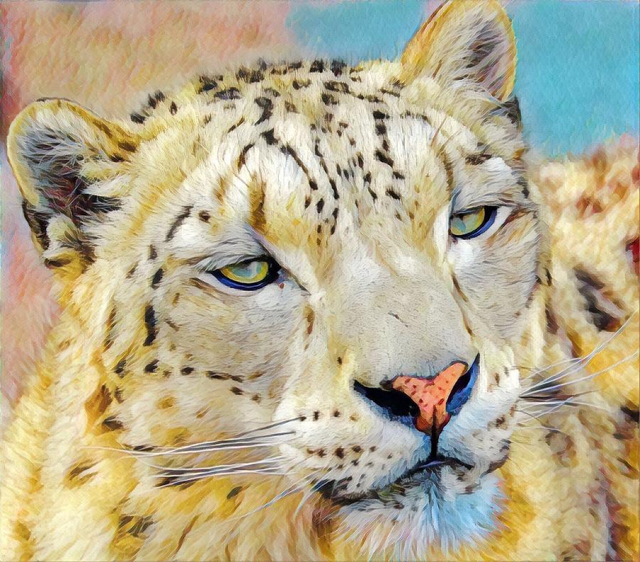Gazing Snow Leopard by Susan Rydberg