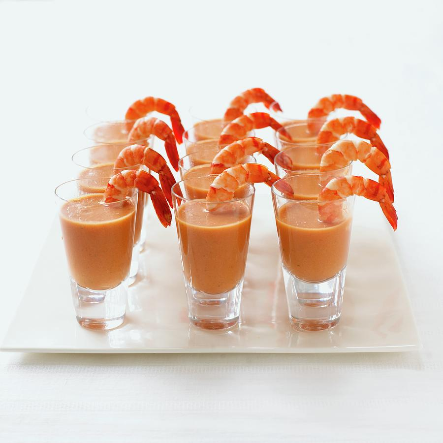 Gazpacho With Tiger Prawns Arranged In Photograph by Dorling Kindersley