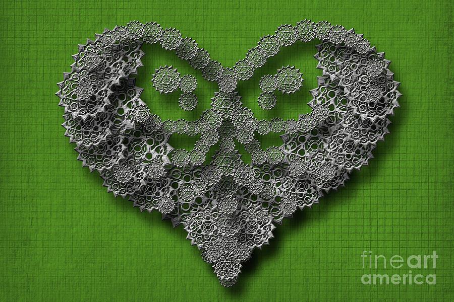 Gear hearth green background by Afrodita Ellerman
