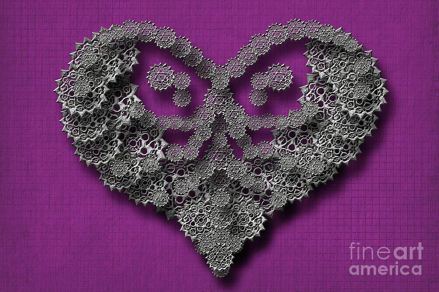 Gear Hearth Pink Background by Afrodita Ellerman