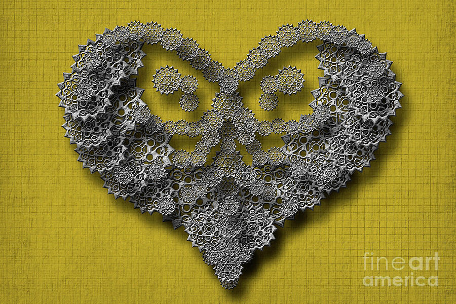 Gear Hearth Yellow Background by Afrodita Ellerman