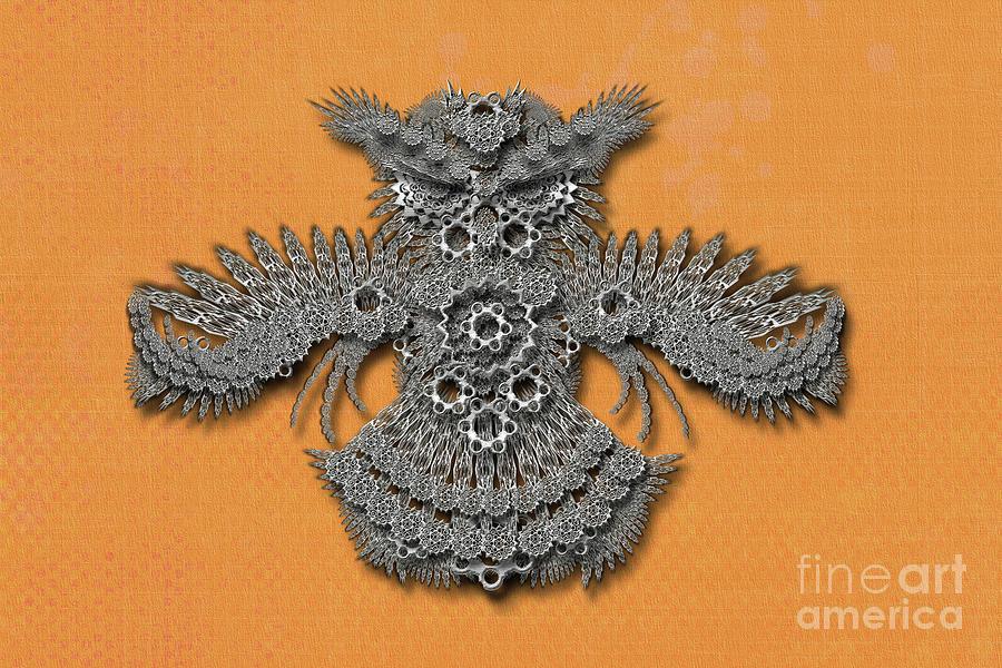 Gear Owl orange background by Afrodita Ellerman