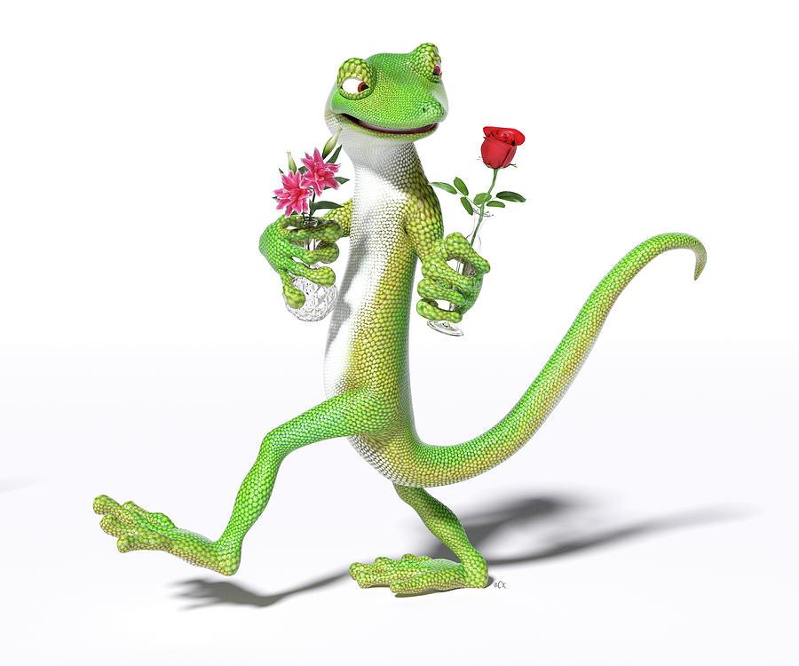 Gecko Digital Art - Gecko In Love by Betsy Knapp