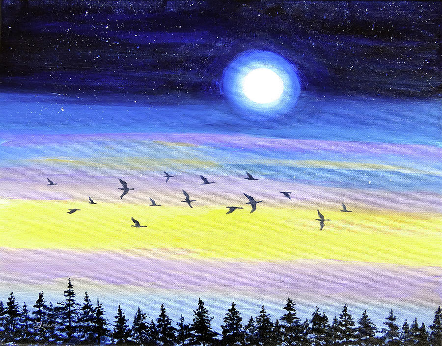 Geese at Twilight by Laura Iverson
