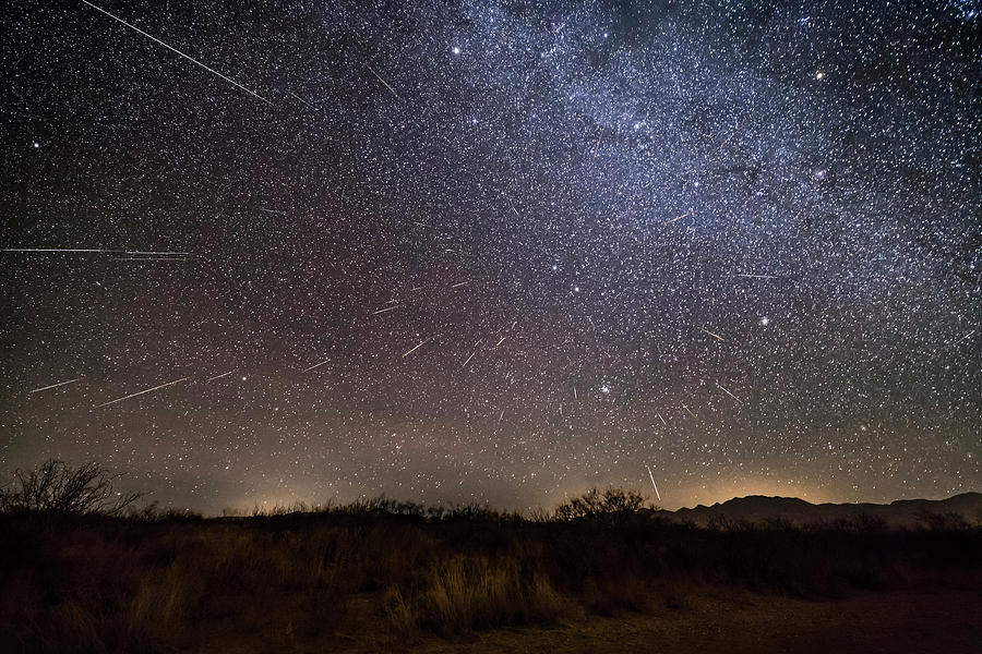 Geminid Meteor Shower Streaking by Alan Dyer