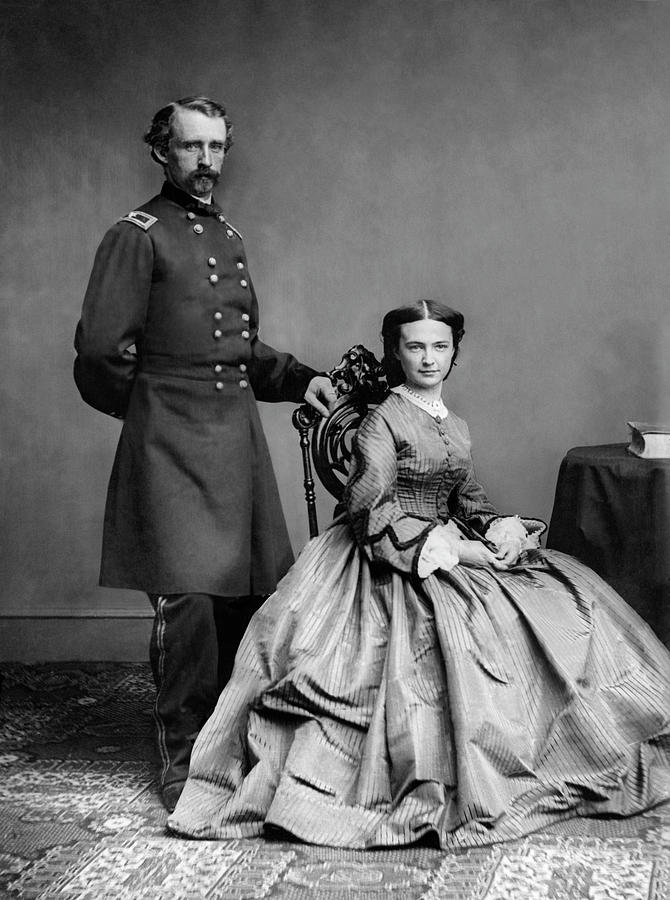 George Armstrong Custer Photograph - General Custer And His Wife Libbie by War Is Hell Store