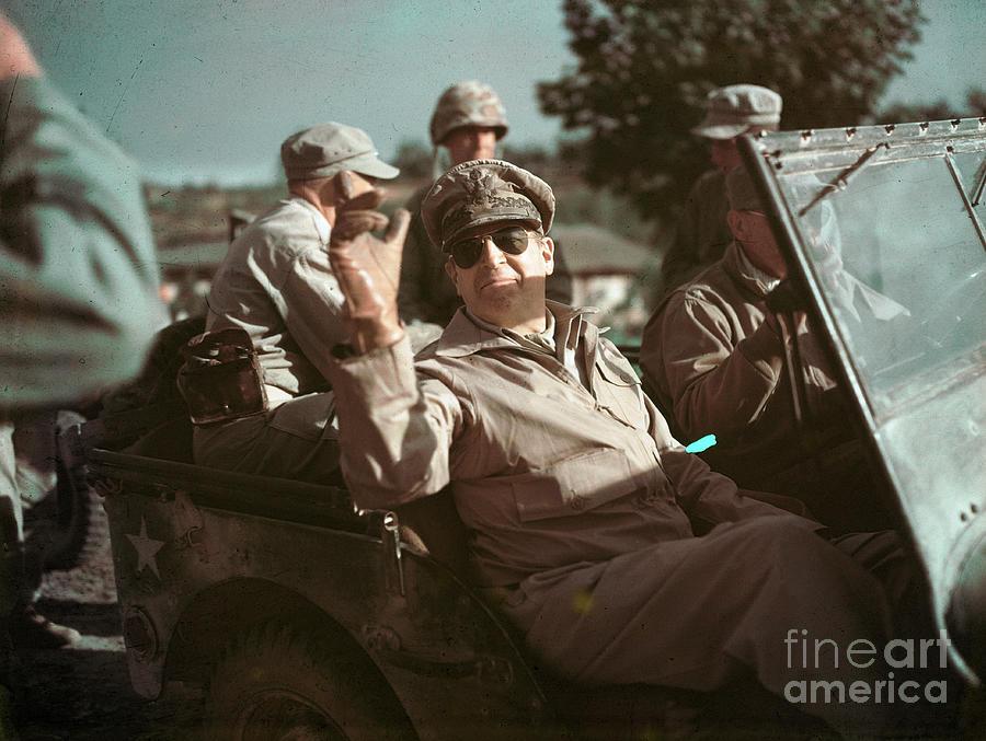 General Douglas Macarthur Riding In Jeep Photograph by Bettmann