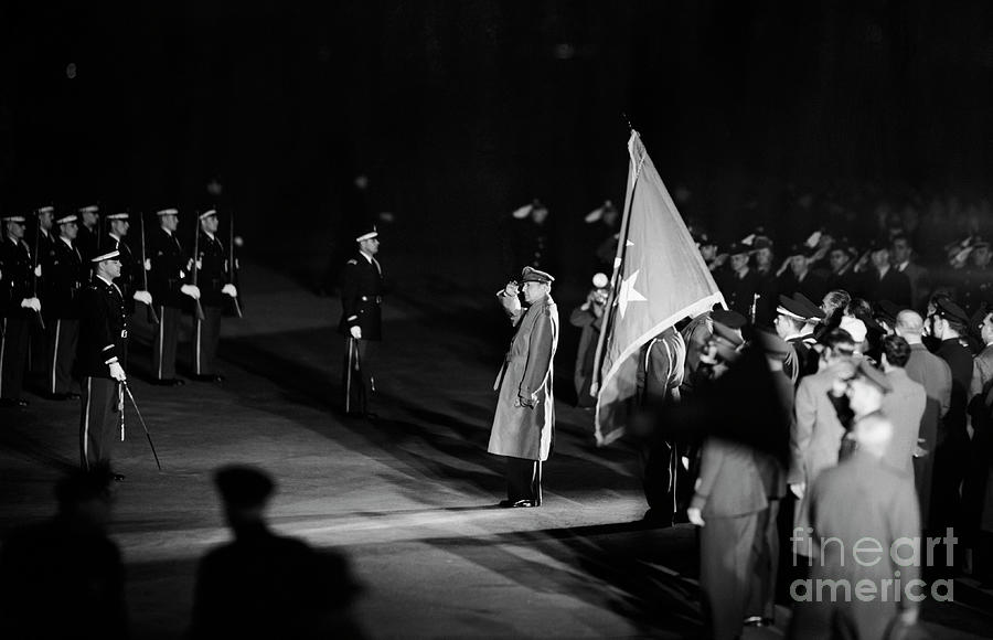 General Macarthur Saluting Honor Guard Photograph by Bettmann