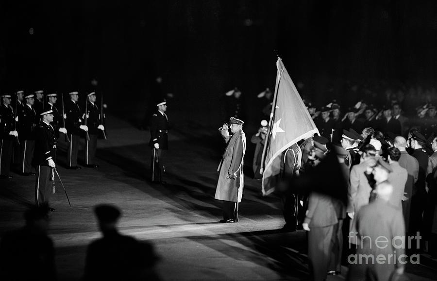 General Macarthur Saluting Honor Guard Photograph by Bettmann