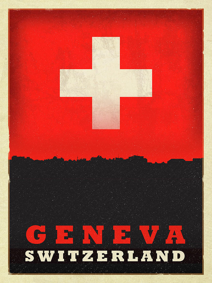 Geneva Mixed Media - Geneva Switzerland World City Flag Skyline by Design Turnpike