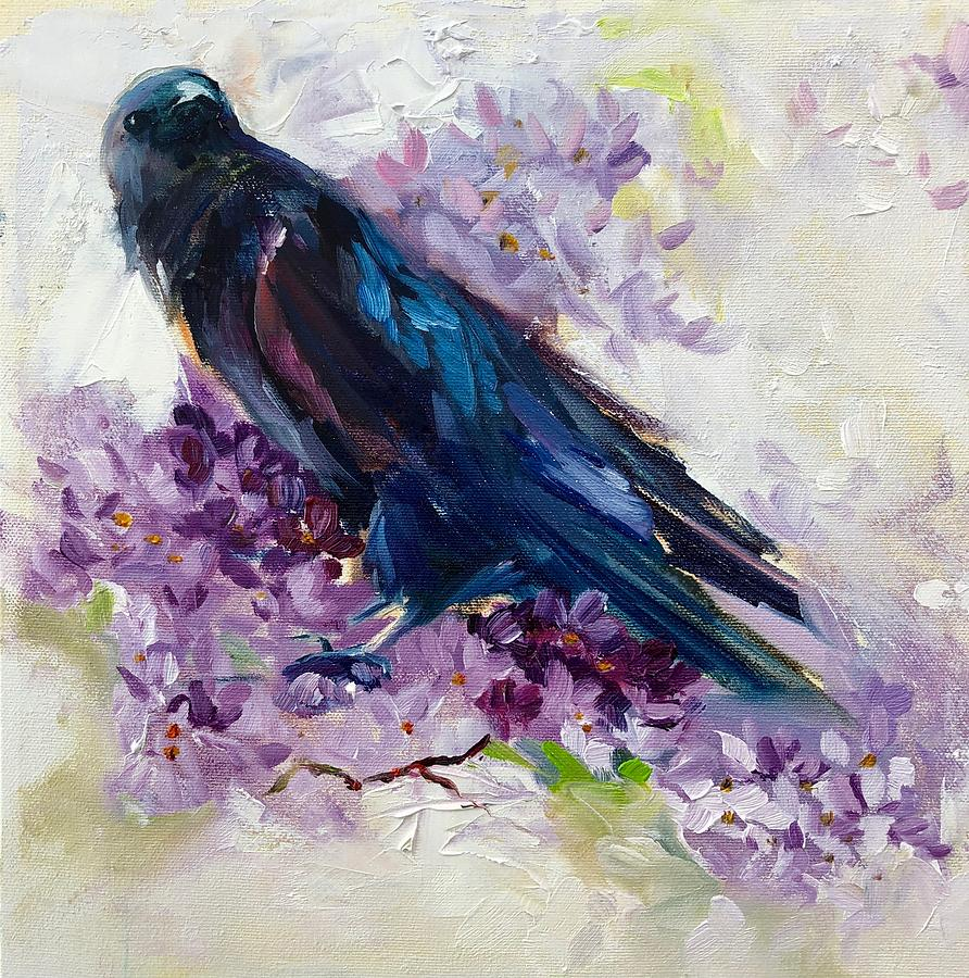 Crow Painting - Gentelman Cawer, 12x12, oil by Sarah Jane Conklin