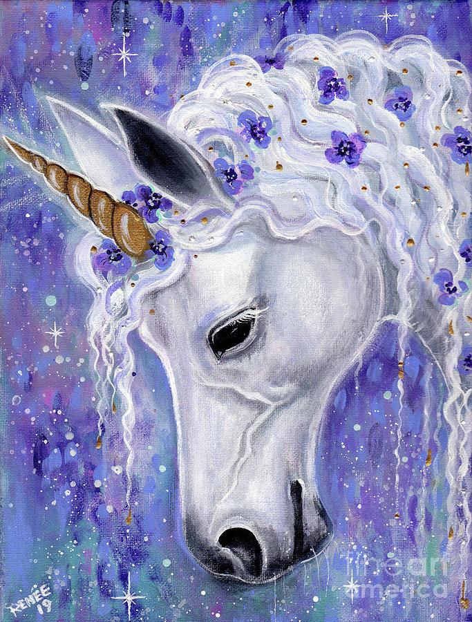 Gentle Unicorn Painting by Renee Lavoie