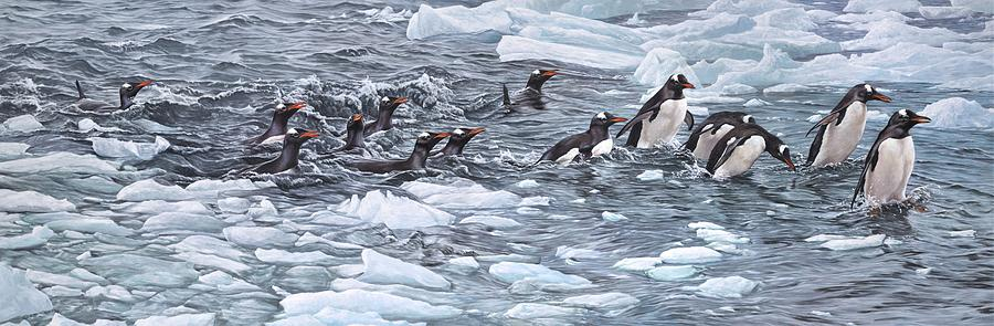Paintings Painting - Gentoo Penguins By Alan M Hunt by Alan M Hunt
