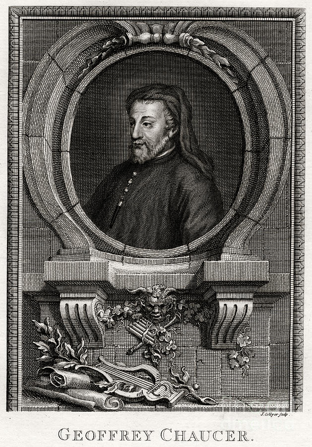 Geoffrey Chaucer, 1774. Artist J Collyer Drawing by Print Collector
