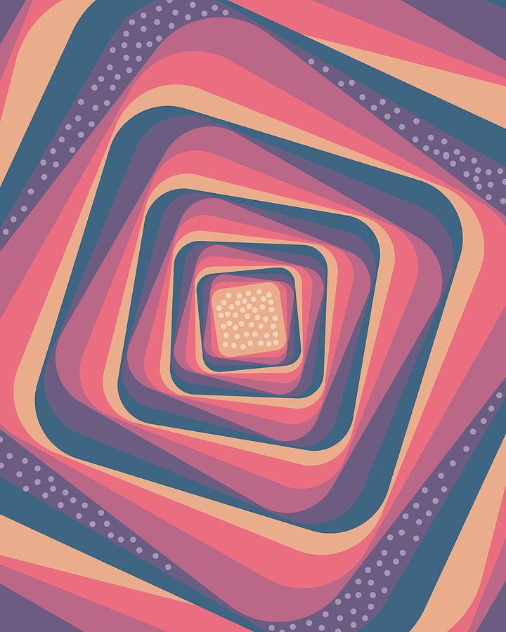 Pattern Mixed Media - Geometric Abstract Pattern - Retro Pattern - Spiral 2 - Deep Blue, Purple, Magenta, Red by Studio Grafiikka