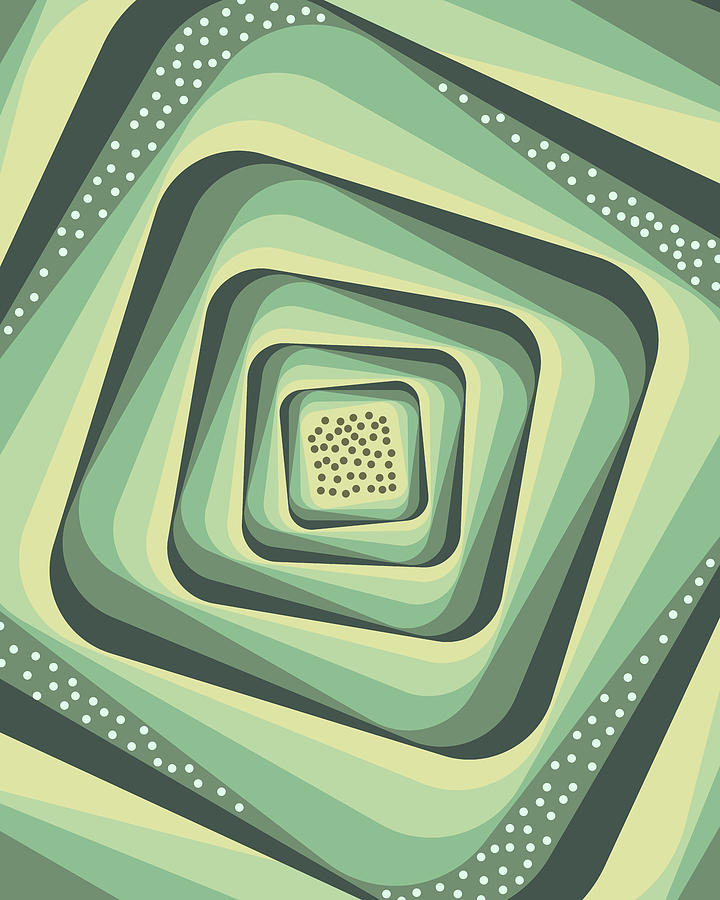 Geometric Abstract Pattern - Retro Pattern - Spiral 3 - Grey, Cream, Teal, Slate Mixed Media