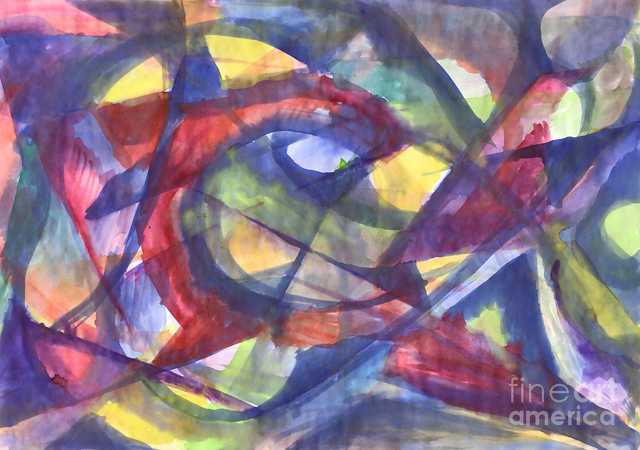 Geometric  abstract watercolor painting. Kaleidoscope. by Irina Dobrotsvet