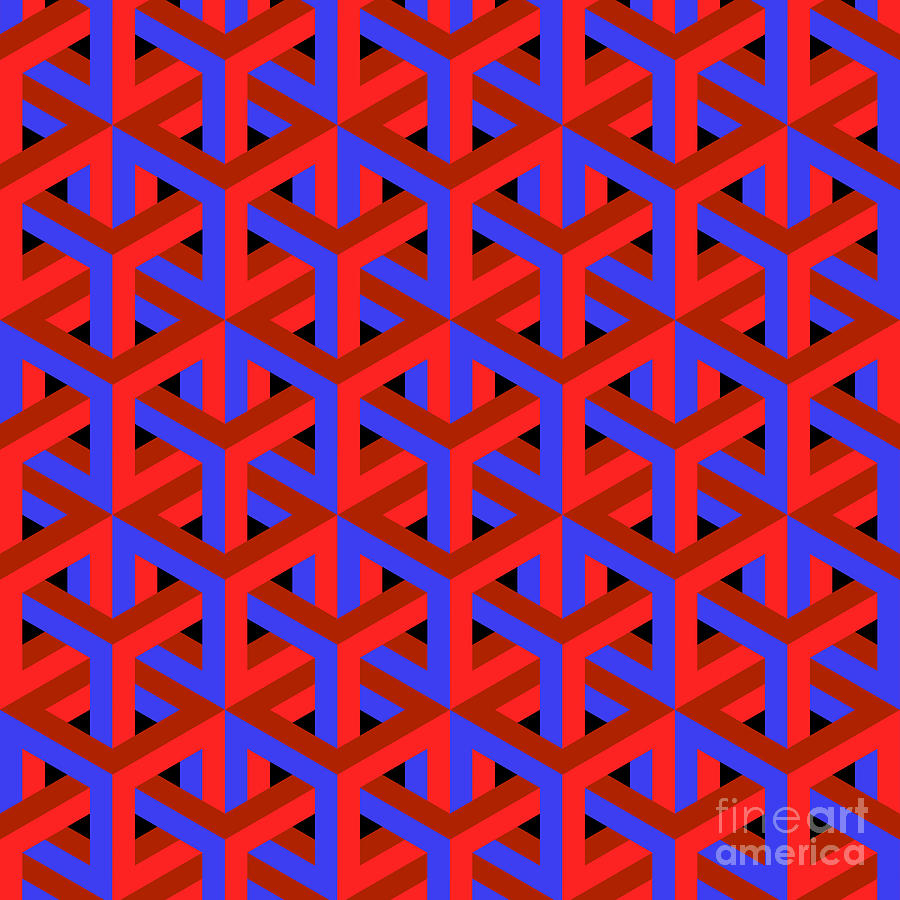 Dimensional Digital Art - Geometric Optical Art Background In Red by Jkerrigan