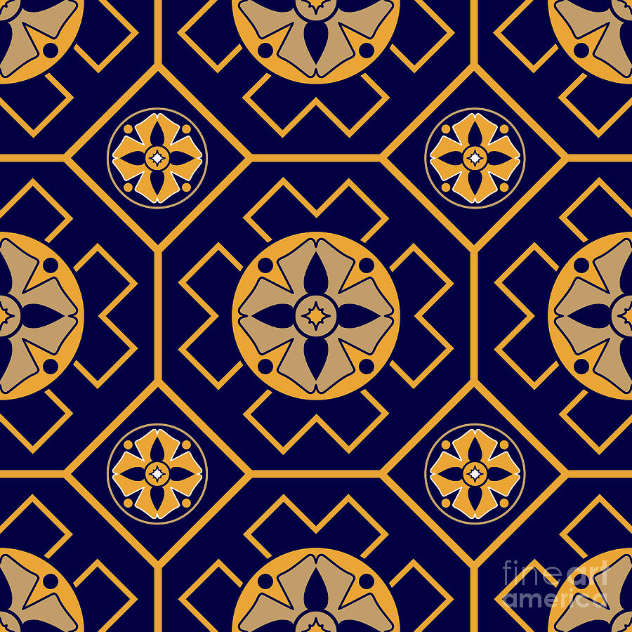 Pattern Digital Art - Geometric Seamless Pattern by Tania Anisimova
