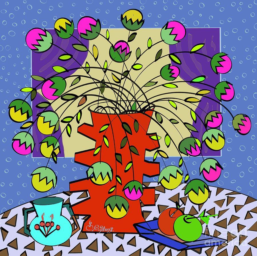 Geometric Still-Life with Flowers by Caroline Street