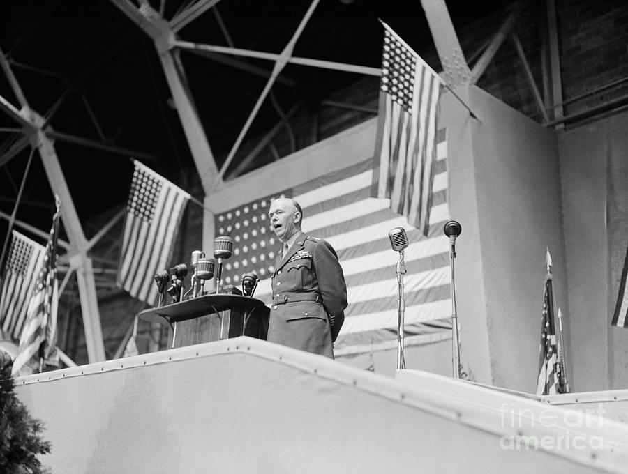 George C. Marshall Making Speech Photograph by Bettmann
