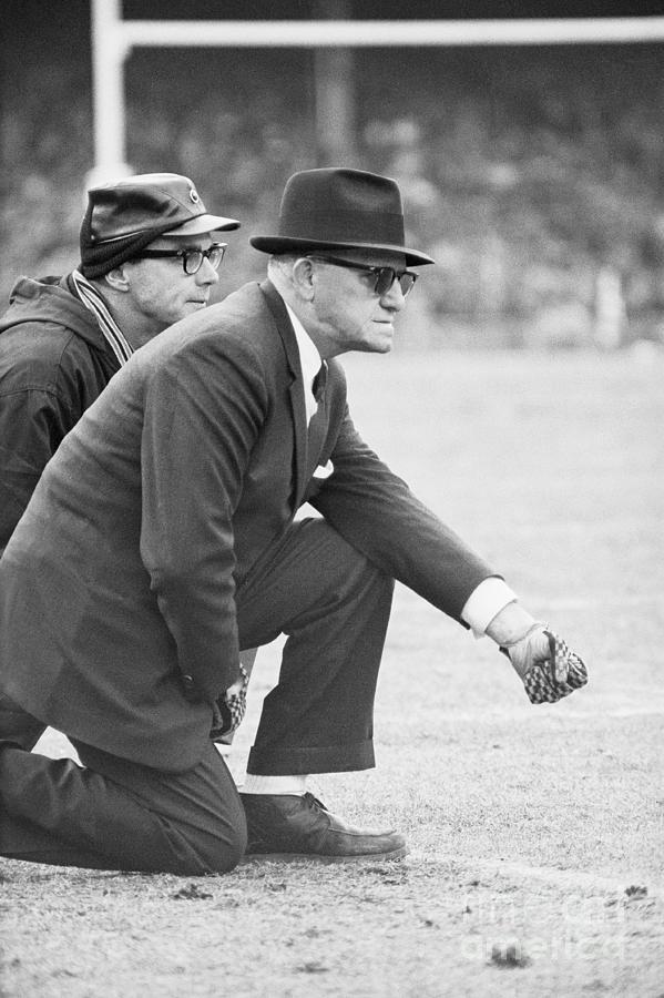 George Halas Kneeling On Sidelines Photograph by Bettmann