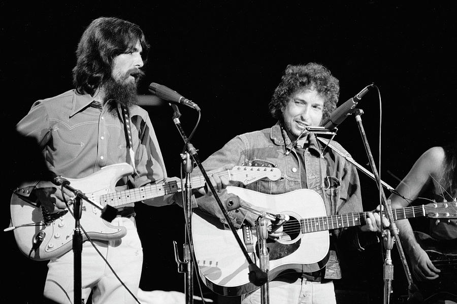 George Harrison & Bob Dylan Perform In Photograph by Bill Ray