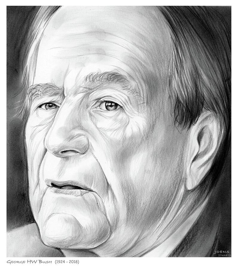 George Hw Bush Drawing - George Hw Bush 1924 - 2018 by Greg Joens