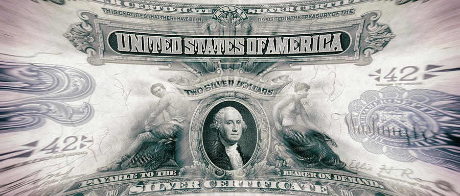 George Washington 1899 American Two Dollar Bill Currency Panoramic Artwork