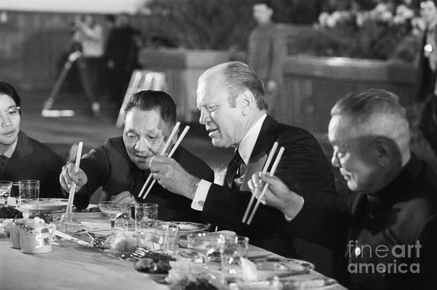 Gerald Ford And Deng Xiaoping Eating Photograph by Bettmann