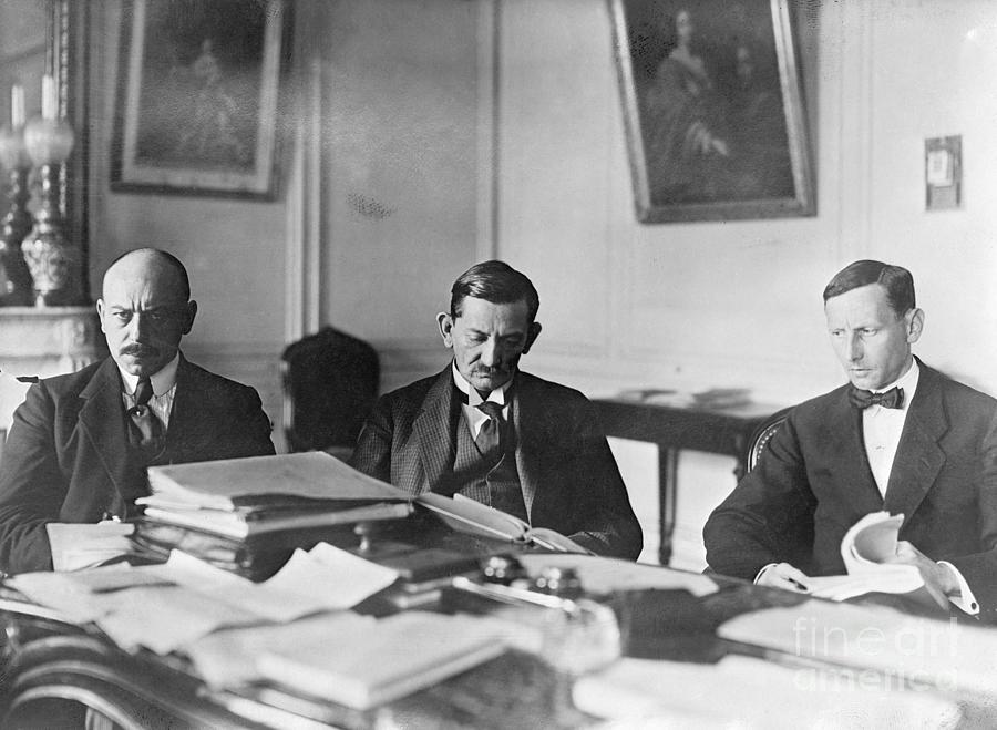 German Envoy Going Over Documents Photograph by Bettmann