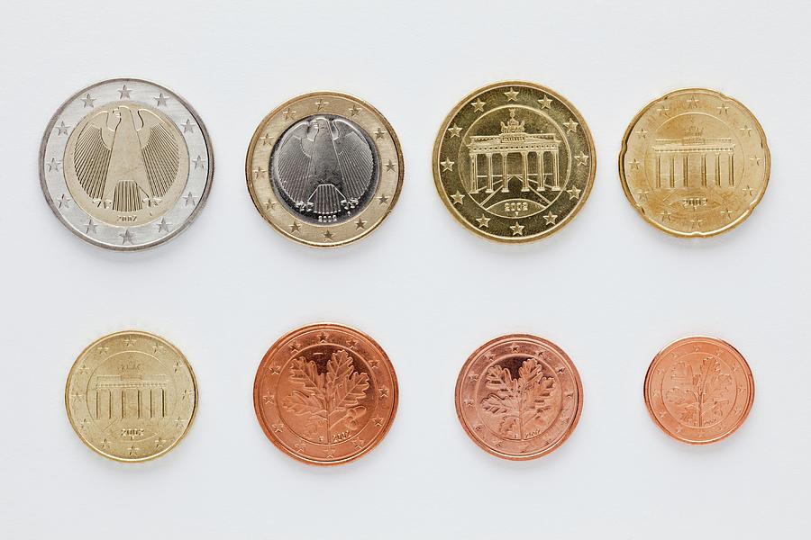 German Euro Coins Arranged In Numerical Photograph by Caspar Benson