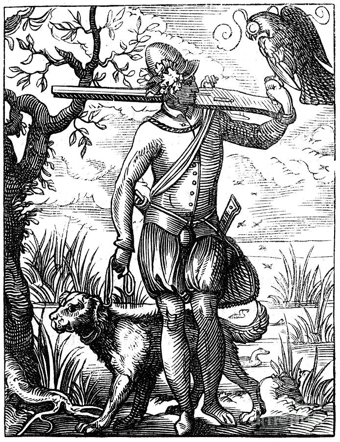 German Falconer, 16th Century Drawing by Print Collector