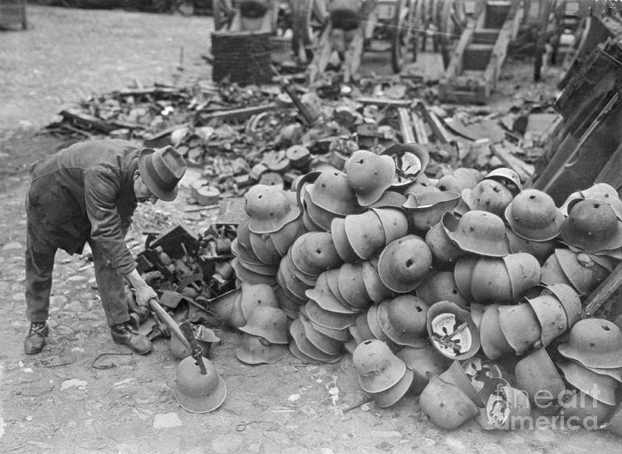 German Helmets Stacked For Elimination Photograph by Bettmann