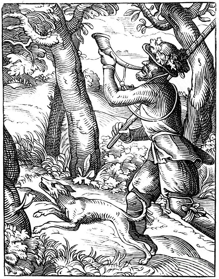German Huntsman, 16th Century 1849 Drawing by Print Collector