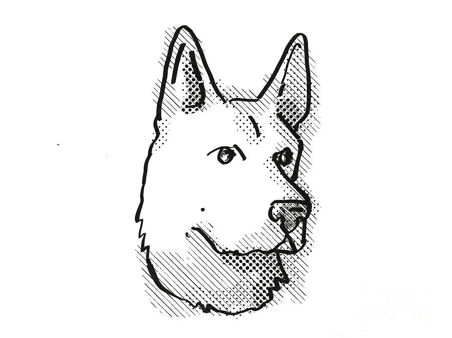 Retro Digital Art - German Shepherd Dog Breed Cartoon Retro Drawing by Aloysius Patrimonio