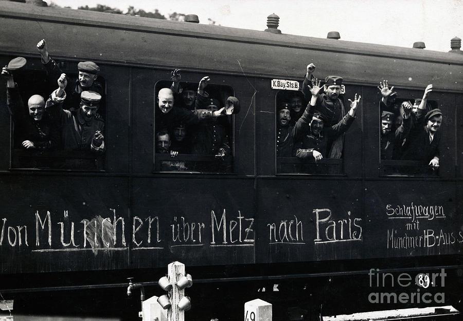 German Troops Waving From Train Windows Photograph by Bettmann