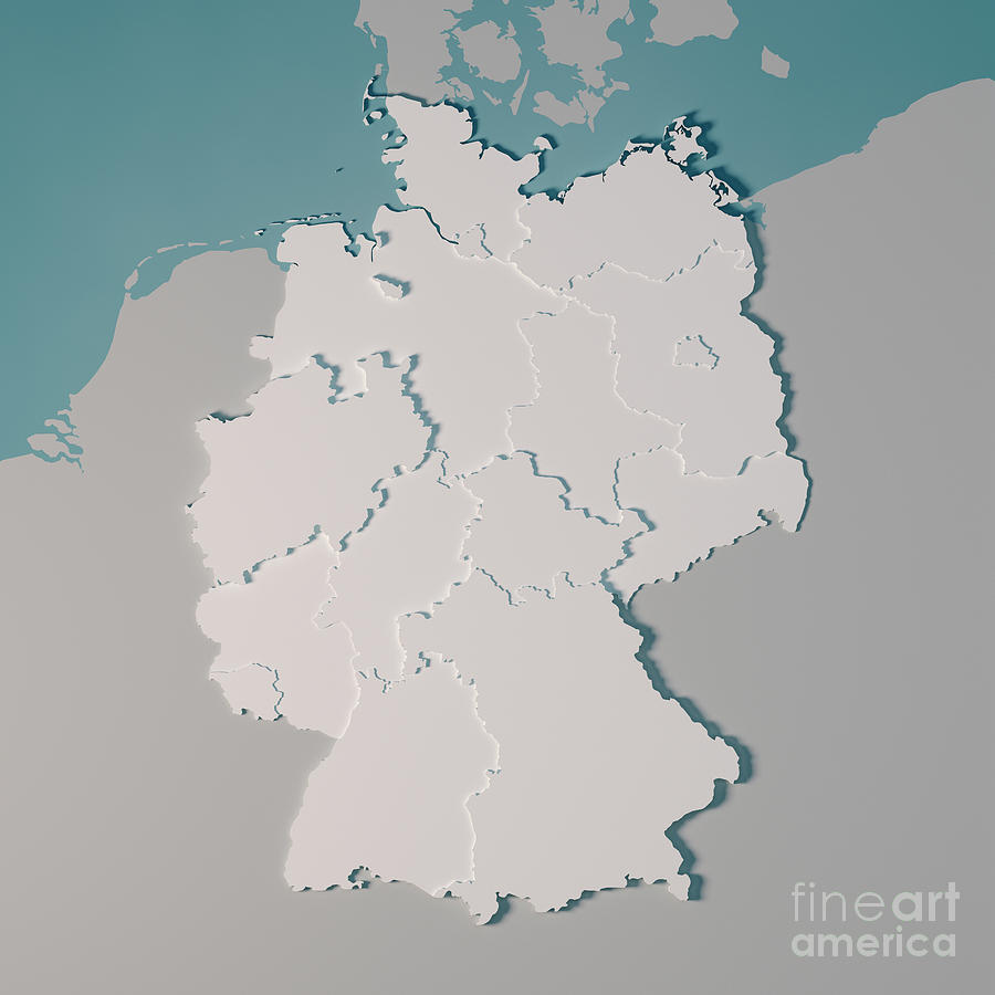 Country Of Germany Map.Germany Country Map Administrative Divisions 3d Render By Frank Ramspott