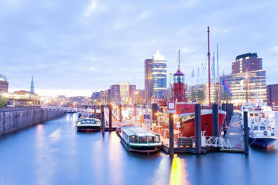 Germany, Hamburg, Warehouse On Canal Photograph by Mel Stuart