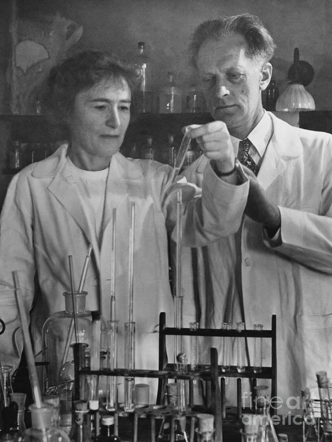 Gerty And Carl Cori In Their Laboratory Photograph by Bettmann