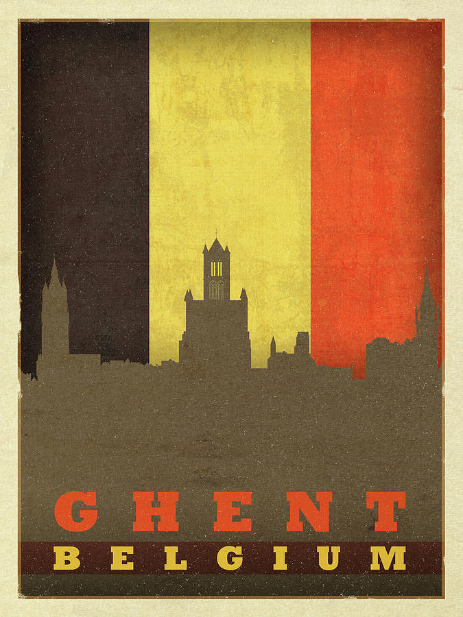 Ghent Mixed Media - Ghent Belgium World City Flag Skyline by Design Turnpike