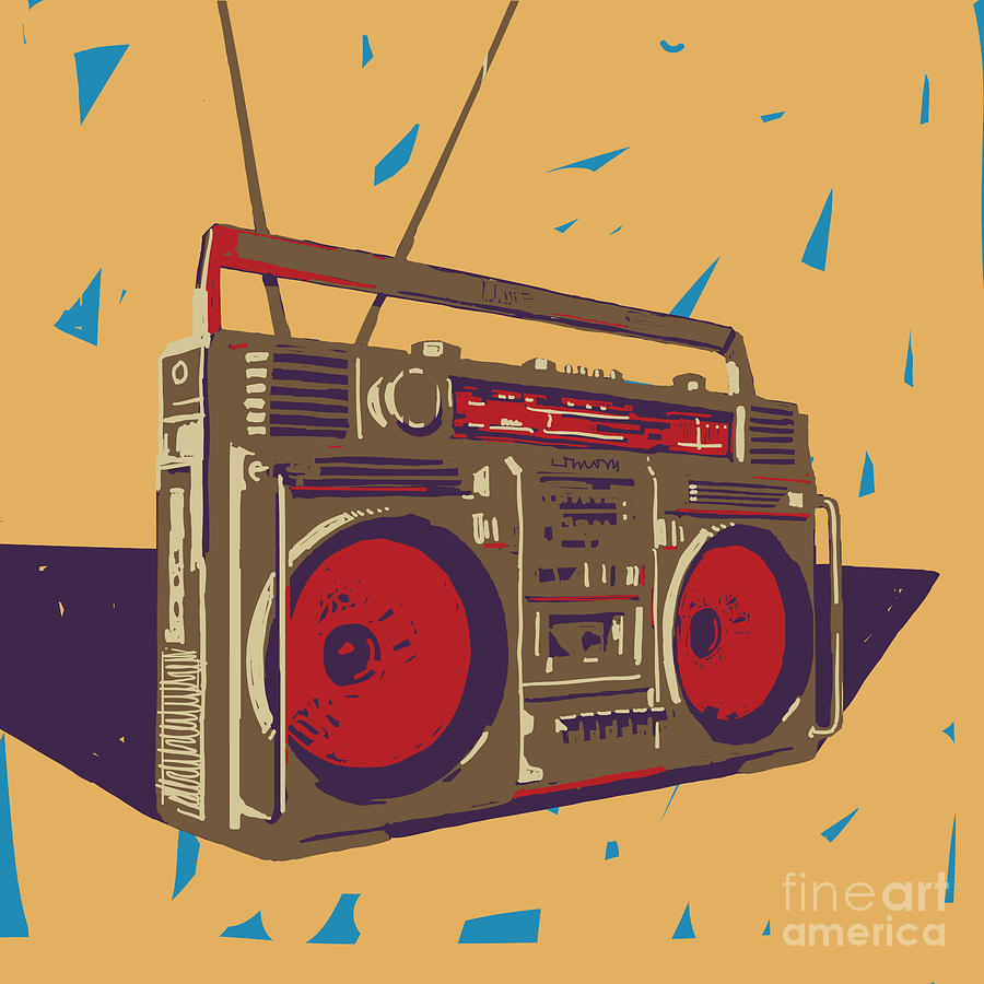 Color Digital Art - Ghetto Blaster Boombox Graphic by Iz Stock Works
