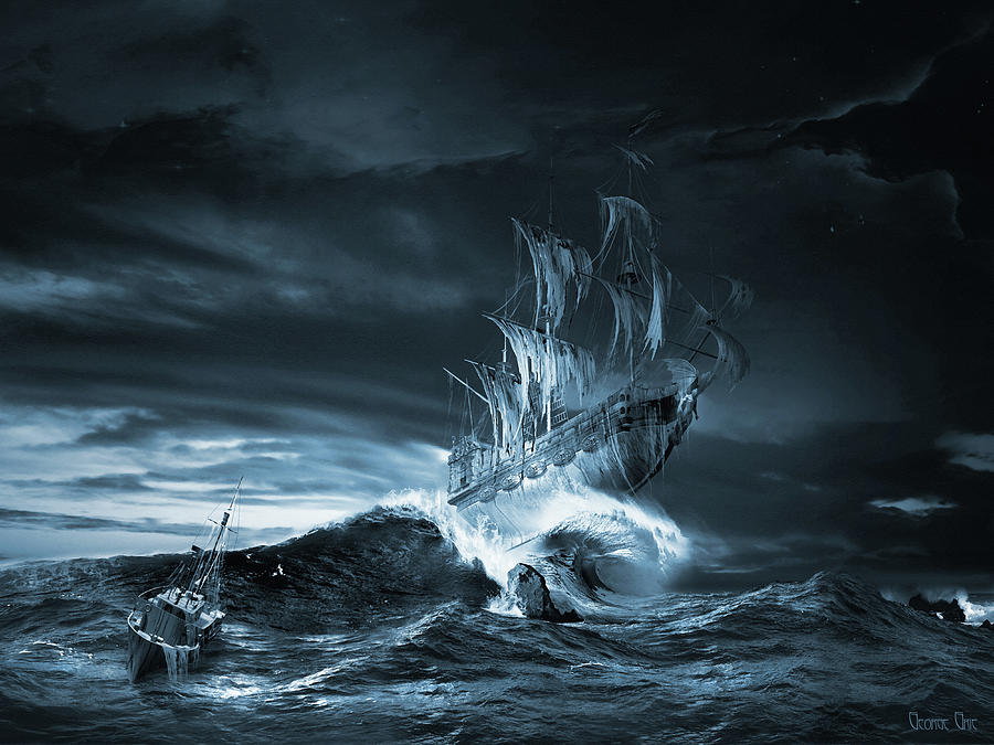 Ghost ship series The ninth wave remake Digital Art by George Grie