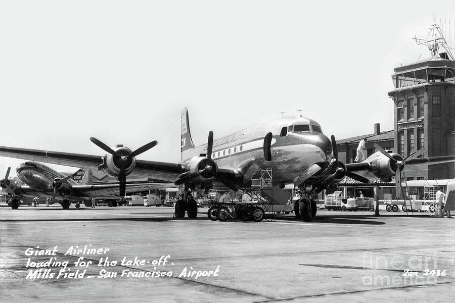 Giant Airliner loading for the take-off Mills Field Circa 1948 by California Views Archives Mr Pat Hathaway Archives