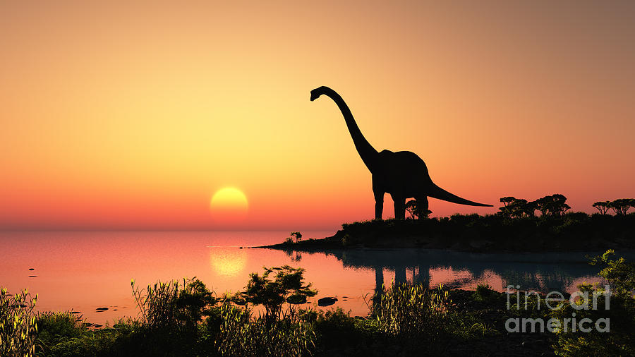 Small Digital Art - Giant Dinosaur In The Background Of The by Iurii